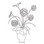 Tipareste si coloreaza: vaza cu gerbera