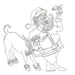 Tipareste si coloreaza: Mos Craciun si renul Rudolf