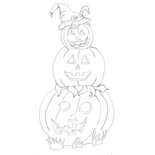 Tipareste si coloreaza:desene de Halloween - om de dovleac