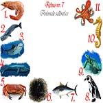 Rebus animale salbatice din ocean: crevete, casalot, rechin, balena, crab, arici, ton, pinguin, testoasa, calut, caracatita