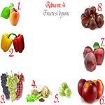 Rebus fructe si legume: caisa, ardei, struguri, telina, agrese, nectarine, mere, castane