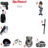 Rebus cu meserii: pistol, uniforma, fluier, chipiu, catuse, insigna, masina, baston, politist.