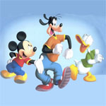 Puzzle cu Donald, Pluto si Mikey Mouse