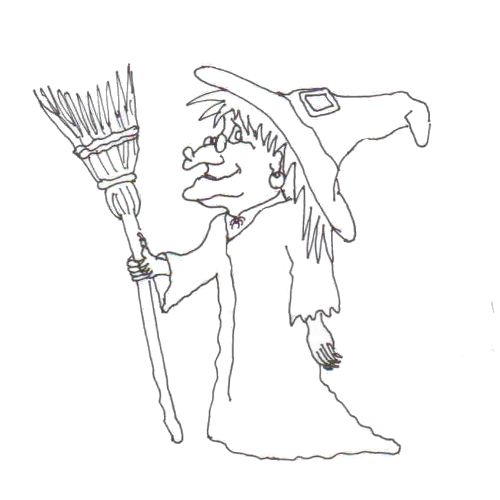 Tipareste si coloreaza:desene de Halloween - vrajitoare